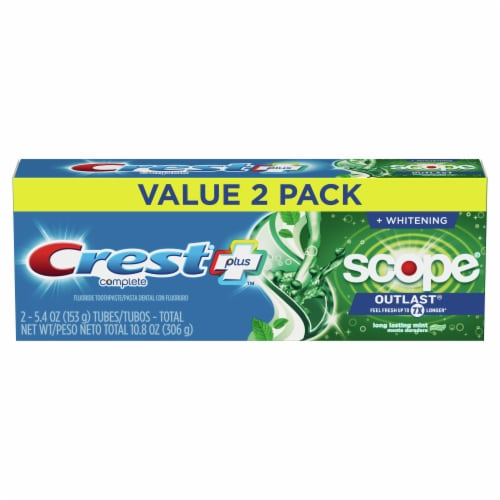 Crest + Scope Outlast Complete Whitening Toothpaste Mint Twin Pack Perspective: front