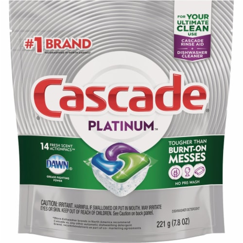 Cascade Platinum Action Pacs Fresh Dishwasher Detergent Tabs (14 Count) Perspective: front