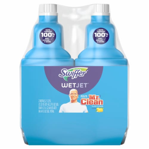 Swiffer® WetJet with Lemon Liquid Floor Cleaner Refill Twin Pack Perspective: front