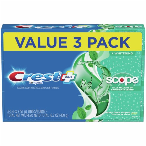 Crest Complete Plus Scope Minty Fresh Striped Whitening Fluoride Toothpaste Value Pack Perspective: front