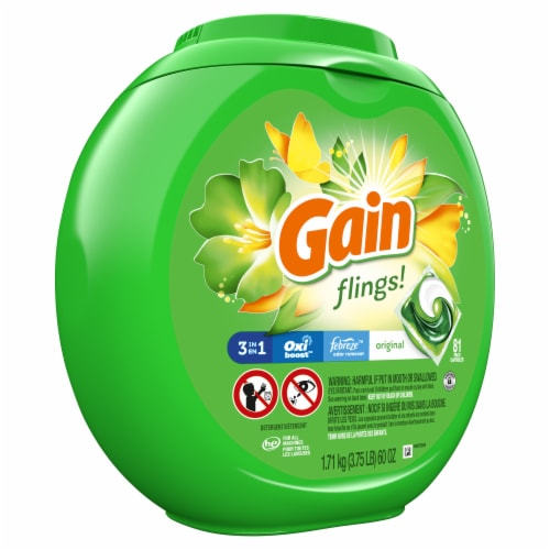 Gain Flings! Original 3-In-1 Laundry Detergent Pacs Perspective: front