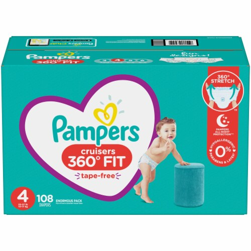 Pampers Cruisers 360 Fit Size 4 Baby Diapers 108 Count Perspective: front