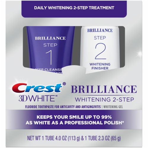 Crest 3D White Brilliance 2-Step Fluoride Toothpaste and Teeth Whitening Gel Kit Perspective: front