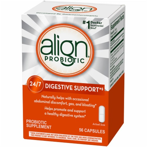 Align Digestive Support Probiotic Supplement Capsules Perspective: front