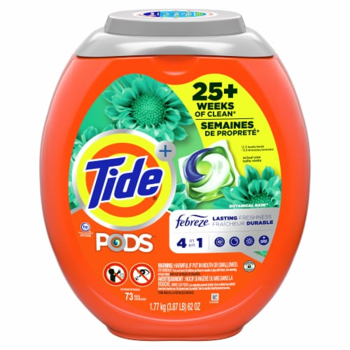 Tide Pods with Febreze Botanical Rain 4-in-1 Laundry Detergent Pacs Perspective: front
