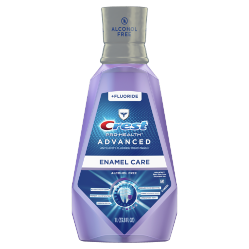 Crest Pro-Health Advanced Mouthwash Alcohol Free Enamel Care Perspective: front