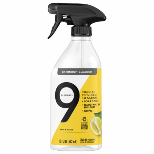 9 Elements Lemon Bathroom Cleaner Spray Perspective: front
