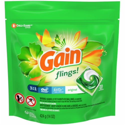 Gain Flings! 3-in-1 Original Scent Laundry Detergent Pacs Perspective: front