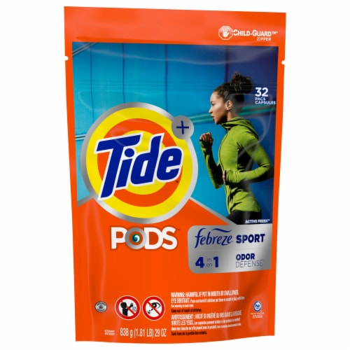 Tide Plus Febreze Sport Odor Defense Active Fresh Laundry Detergent Pods Perspective: front