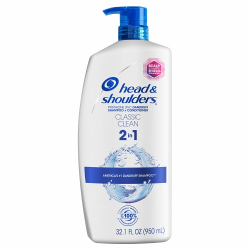 Head and Shoulders Classic Clean Anti-Dandruff 2 in 1 Paraben Free Shampoo and Conditioner Perspective: front