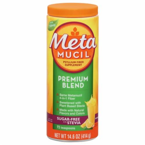 Metamucil Premium Blend Orange Flavor Psyllium Fiber Powder Supplement Perspective: front