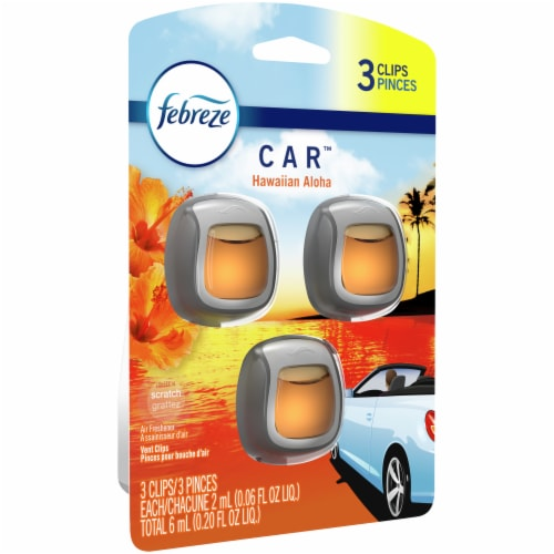 Febreze Car Hawaiian Aloha Vent Clip Air Freshener 3 Count Perspective: front