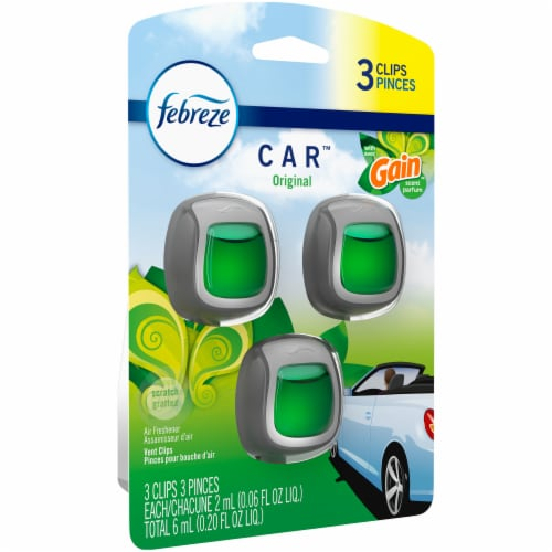 Febreze Car Original with Gain Scent Air Freshener Vent Clips Perspective: front