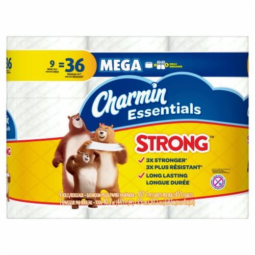 Charmin Essentials Ultra Strong Mega Roll 1-Ply Toilet Paper Perspective: front