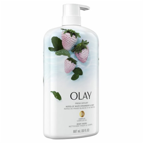 Olay Fresh Outlast White Strawberry & Mint Body Wash Perspective: front