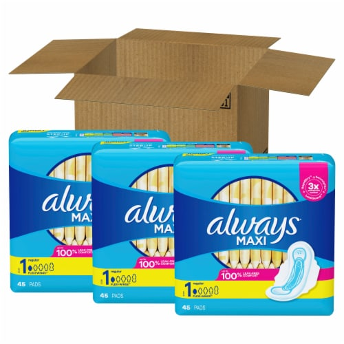 Always Unscented Size 1 Regular Maxi Pads with Wings Perspective: front