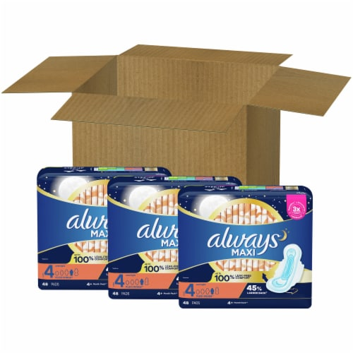 Always Size 4 Overnight Maxi Pads (3 Pack) Perspective: front