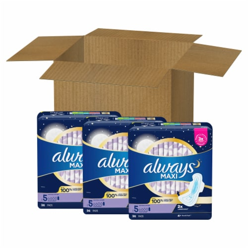 Always Unscented Extra Heavy Size 5 Overnight Maxi Pads with Wings Perspective: front