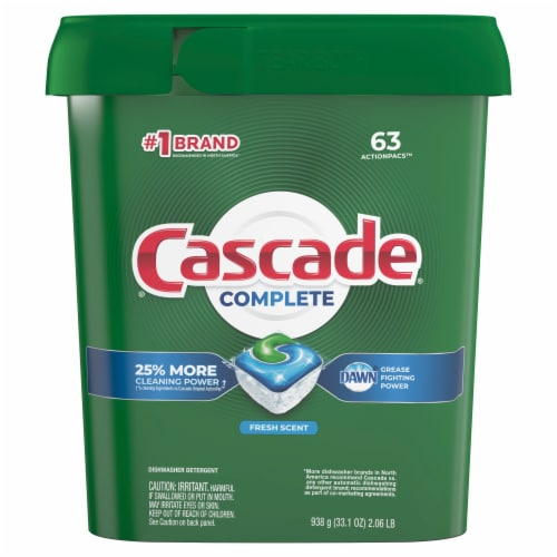Cascade Complete Actionpacs Dishwasher Detergent Fresh Scent Perspective: front