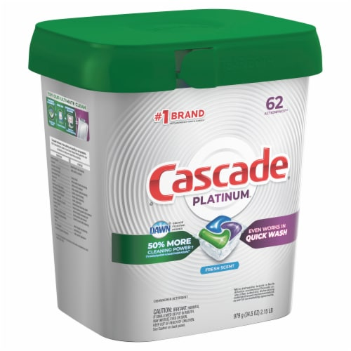 Cascade Platinum ActionPacs Dishwasher Detergent Fresh Scent Perspective: front