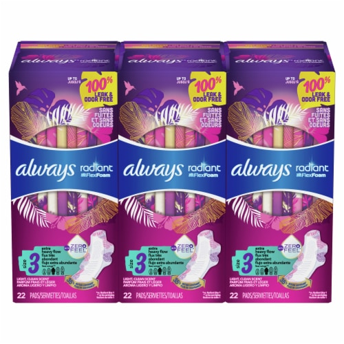 Always Radiant Size 3 Extra Heavy Flow Scented Pads with Wings Perspective: front