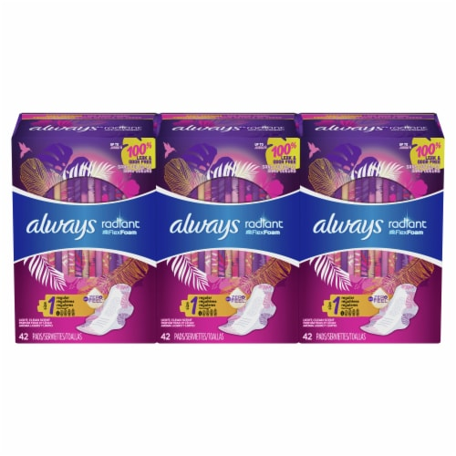 Always Radiant Regular Absorbency Light Scent Size 1 Pads with FlexiWings Perspective: front