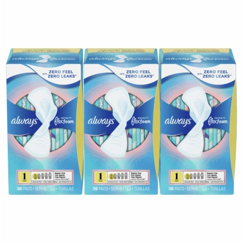 Always Infinity Size 1 Regular Absorbency Unscented FlexFoam Pads with Wings Perspective: front