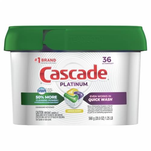 Cascade Platinum ActionPacs Dishwasher Detergent Lemon Scent Perspective: front