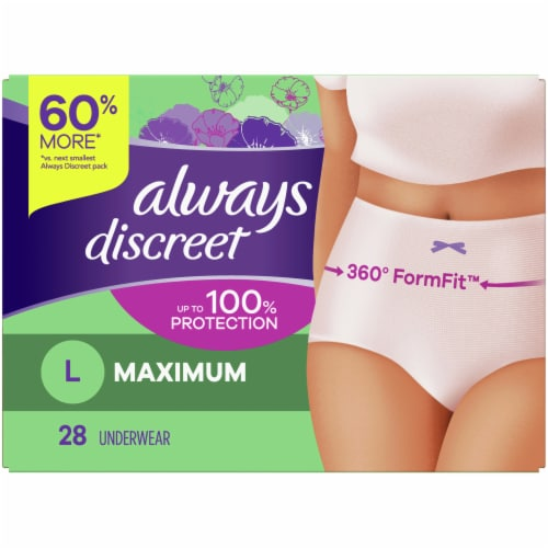 Always Discreet Maximum Protection Large Women's Incontinence Underwear Perspective: front
