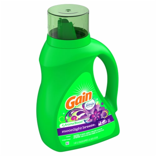 Gain + Aroma Boost Moonlight Breeze with Febreze Freshness Liquid Laundry Detergent Perspective: front