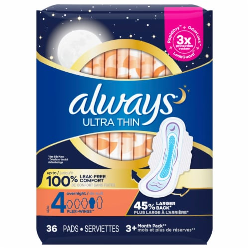 Always Ultra Thin Size 4 Overnight Pads with Wings Perspective: front