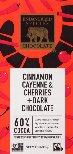 Endangered Species Cinnamon Cayenne & Cherries 60% Cocoa Dark Chocolate Bar Perspective: front