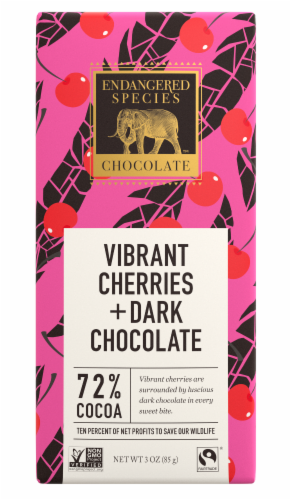 Endangered Species Vibrant Cherries & Dark Chocolate Bar Perspective: front