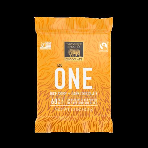 Endangered Species Rice Crisp + 60% Dark Chocolate Bar Perspective: front