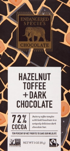 Endangered Species 72% Cocoa Hazelnut Toffee Dark Chocolate Bar Perspective: front