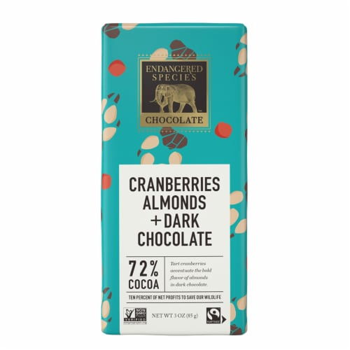 Endangered Species Cranberries & Almonds Dark Chocolate Bar Perspective: front