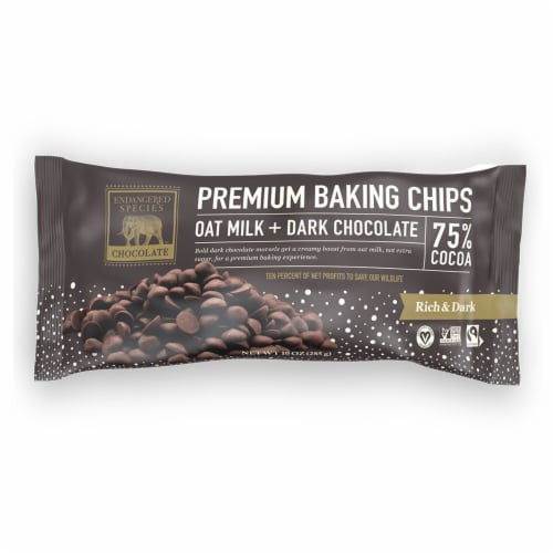 Endangered Species Oat Milk + 75% Dark Chocolate Baking Chips Perspective: front