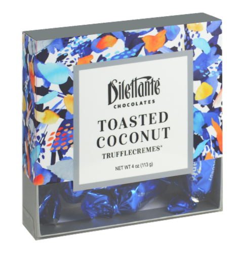 Dilettante Chocolates Toasted Coconut TruffleCremes Perspective: front