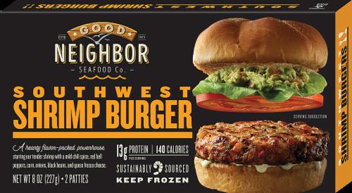 Good Neighbor Seafood Co Southwest Shrimp Burger Perspective: front