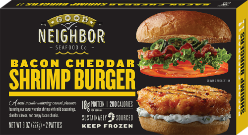 Good Neighbor Seafood Co Bacon Cheddar Shrimp Burger Perspective: front