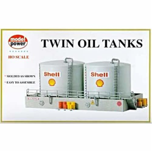 Model Power MDP308 HO Scale Twin Oil Tanks Building Kit Perspective: front