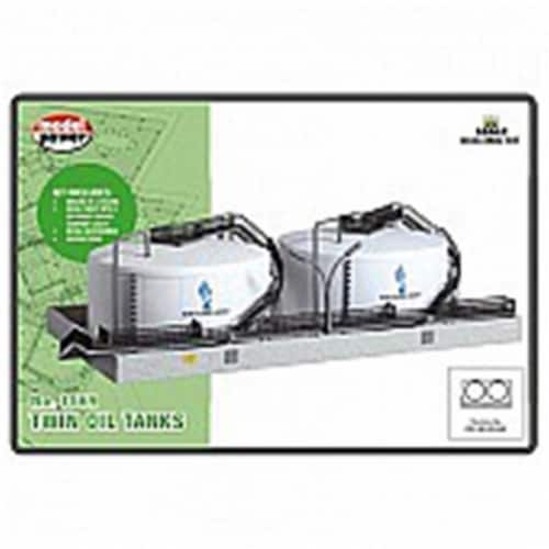 Model Power MDP2592 N Scale Twin Oil Tank Built-Up Kit Perspective: front