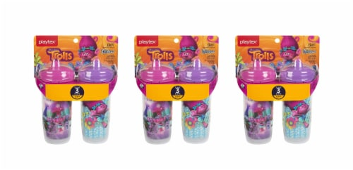 Trolls Sipsters Insulated Spill Proof Spout Cups, Stage 3, 12m+ 9oz, 2 Cups Pack of 3 Perspective: front