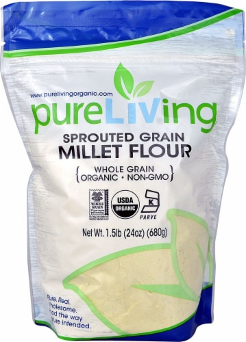 Pure Living Organic Sprouted Millet Flour Perspective: front
