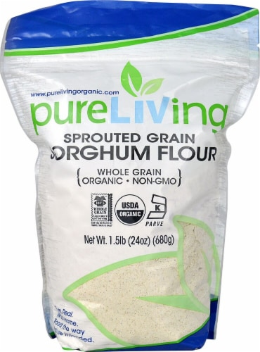 Pure Living Organic Sprouted Sorghum Flour Perspective: front