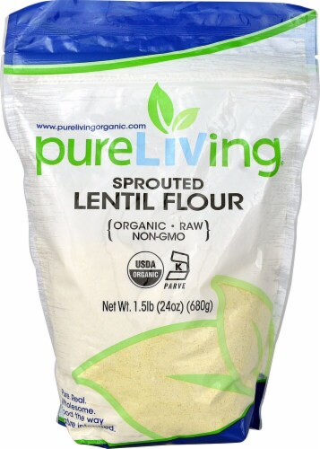 Pure Living Organic Sprouted Lentils Perspective: front