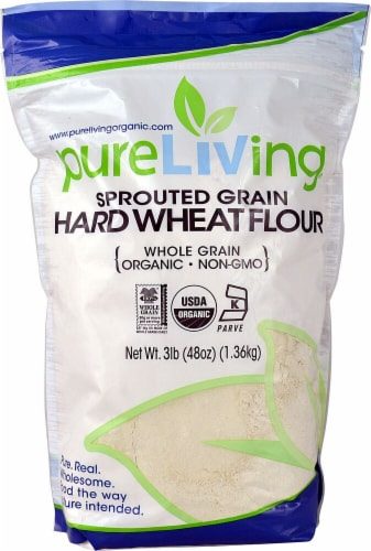 Pure Living Organic Sprouted Whole Wheat Flour Perspective: front