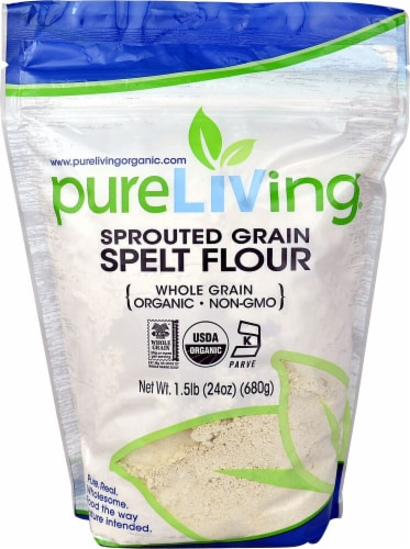 Pure Living Organic Sprouted Spelt Flour Perspective: front