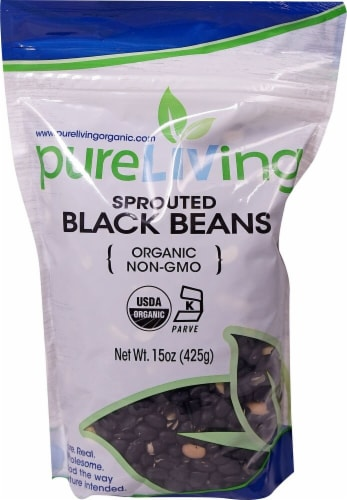 Pure Living Organic Sprouted Black Beans Perspective: front