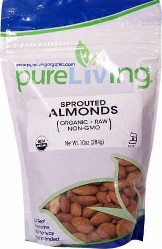 Pure Living Organic Sprouted Almonds Perspective: front